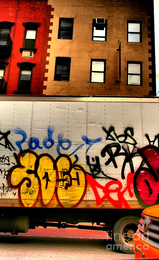 New York Photograph - Graffit With Taxi by Miriam Danar
