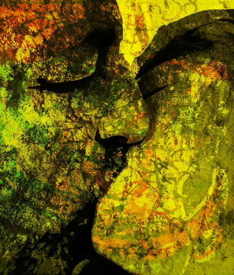 Abstract Painting - Graffiti Kiss by Florin Birjoveanu