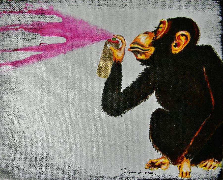 Banksy Painting Graffiti Monkey By Danny Rodriguez