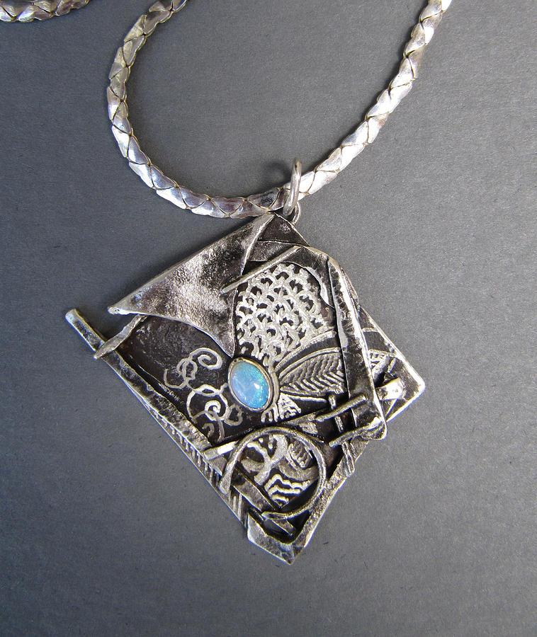 Sterling Silver Jewelry - Graffiti Opal Necklace by Brenda Berdnik