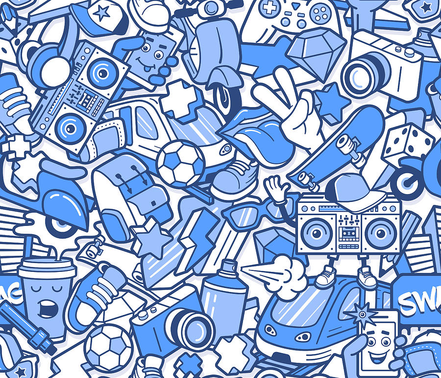 Graffiti Seamless Pattern With Boys Digital Art by Aerial3