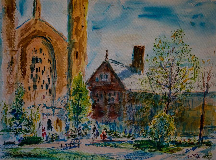 Watercolor Painting - Graham Chapel Morning Effect by Horacio Prada