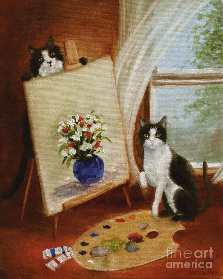 Cat Painting - Grahams Cats The Artists by Stella Violano