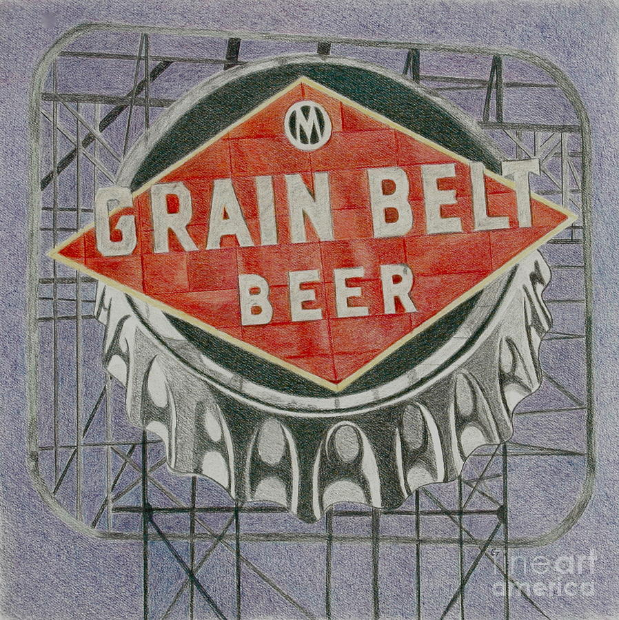 VINTAGE Red GRAIN BELT PATCH 4 X 2  INCHES ADVERTISING BREW MINNEAPOLIS BREWERY
