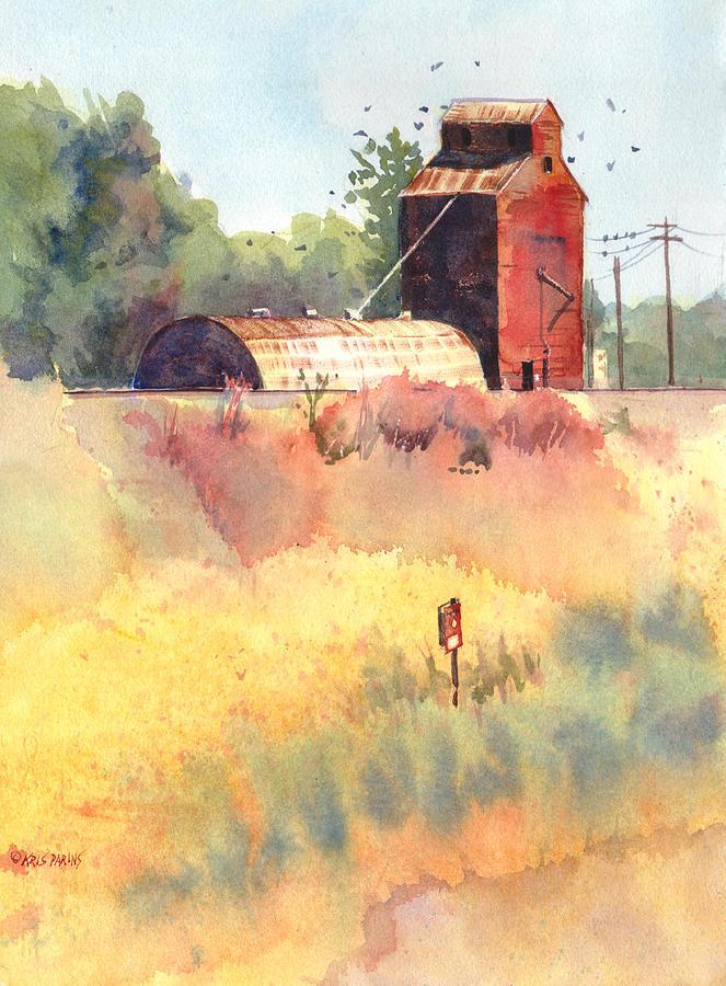 Watercolor Painting - Grain Elevator by Kris Parins