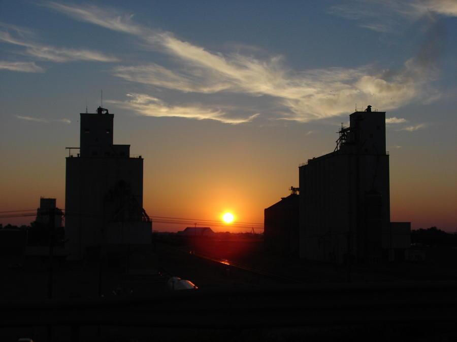 Sunrise Photograph - Grain Elevator Sunrise by Cary Amos