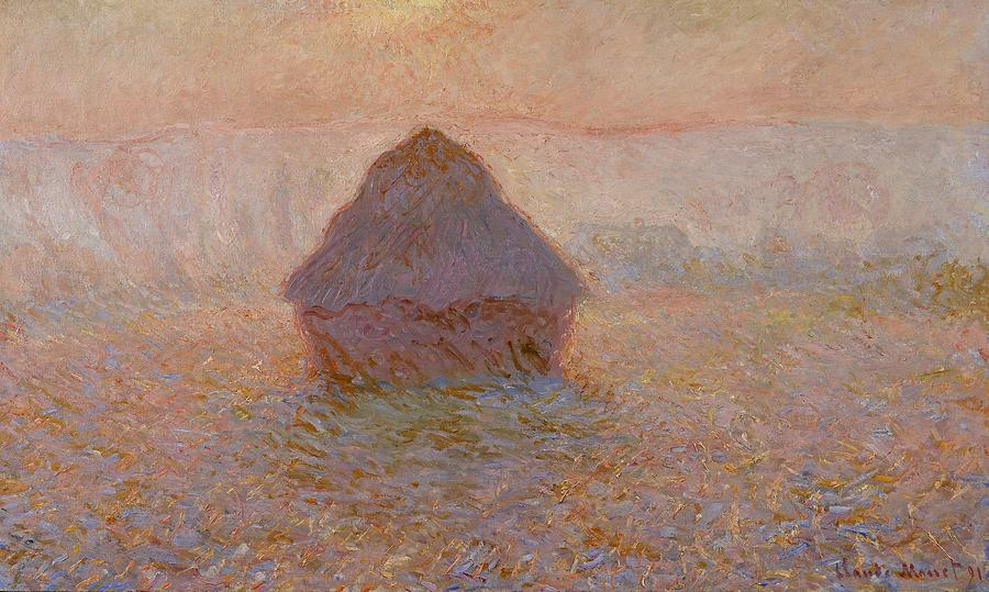 Monet Painting - Grainstack  Sun In The Mist by Claude Monet