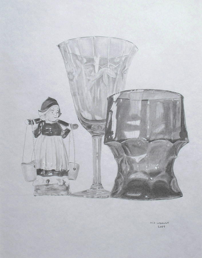 Stemware Drawing - Grammas Glasses by Mary Ellen Mueller Legault