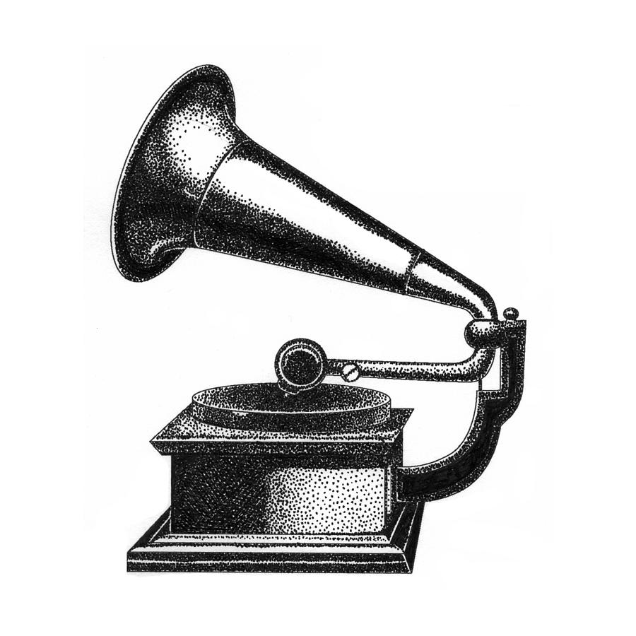 Gramophone Drawing By Christy Beckwith