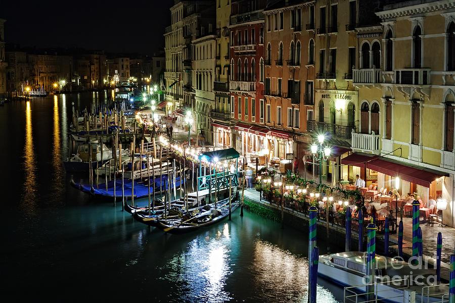 Adriatic Photograph - Grand Canal At Night. Venice by Rostislav Bychkov