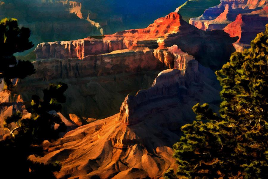 Grand Canyon National Park Painting - Grand Canyon At Sunset by Bob and Nadine Johnston
