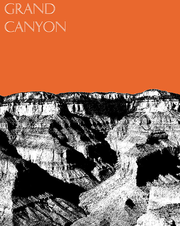 Pen And Ink Digital Art - Grand Canyon - Coral by DB Artist