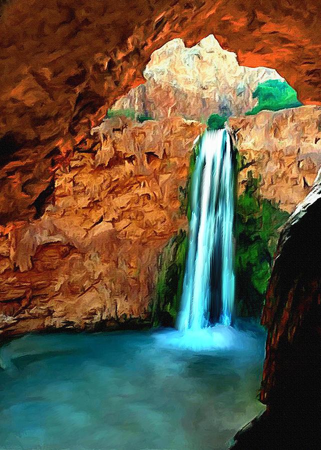 Angel Painting - Grand Canyon Havasu Falls by Bob and Nadine Johnston