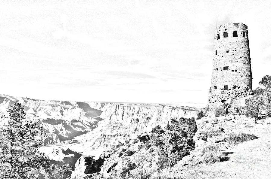 National Park Digital Art - Grand Canyon National Park Mary Colter Designed Desert View Watchtower Black And White Line Art by Shawn OBrien