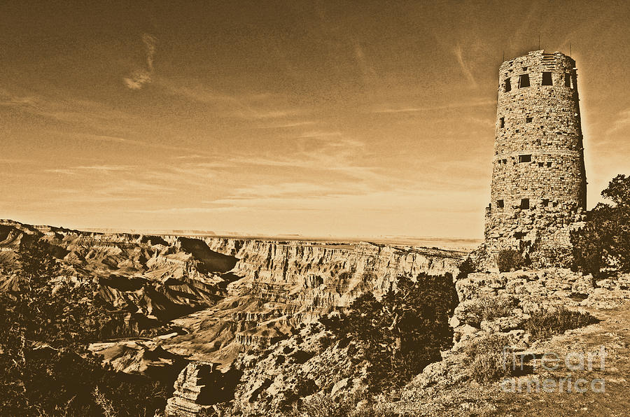 Travelpixpro Grand Canyon Photograph - Grand Canyon National Park Mary Colter Designed Desert View Watchtower Rustic by Shawn OBrien