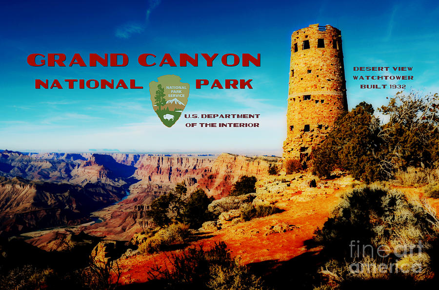 National Park Digital Art - Grand Canyon National Park Poster Desert View Watchtower Retro Future by Shawn OBrien