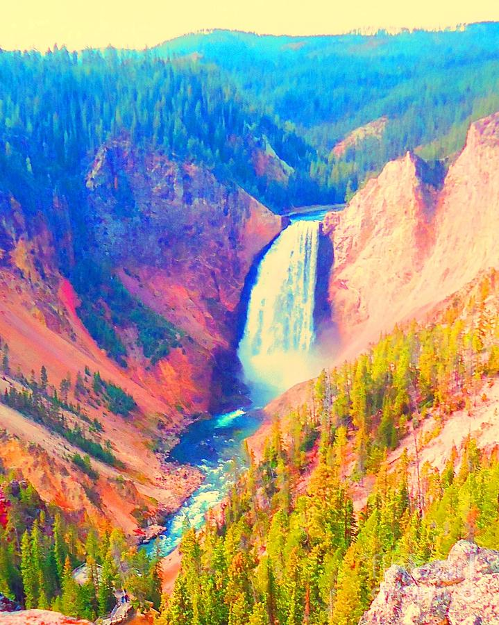 Falls Photograph - Grand Canyon Of The Yellowstone by Ann Johndro-Collins