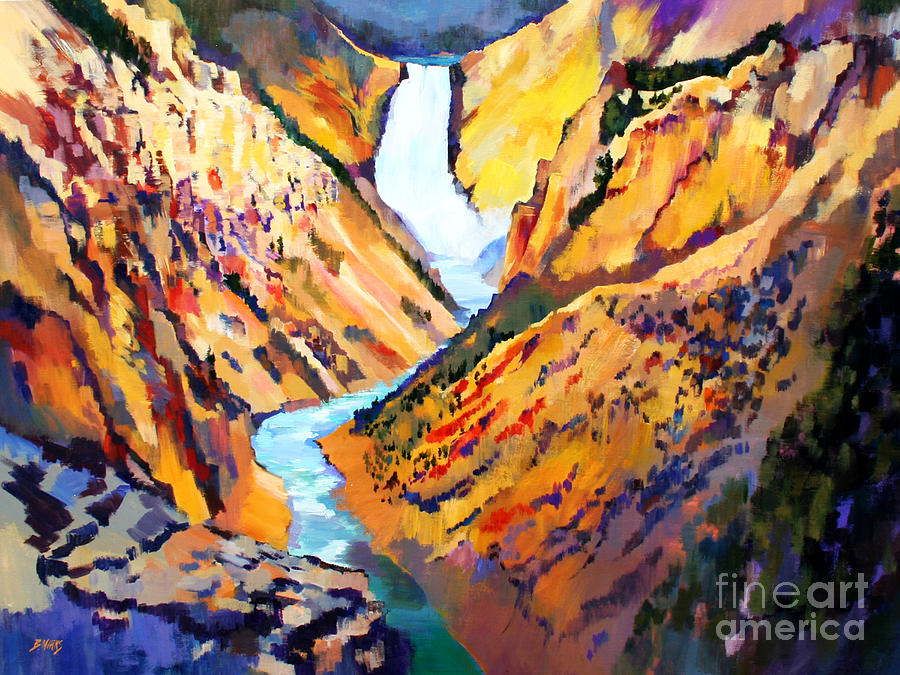 Yellowstone National Park Painting - Grand Canyon Of The Yellowstone by Bernard Marks