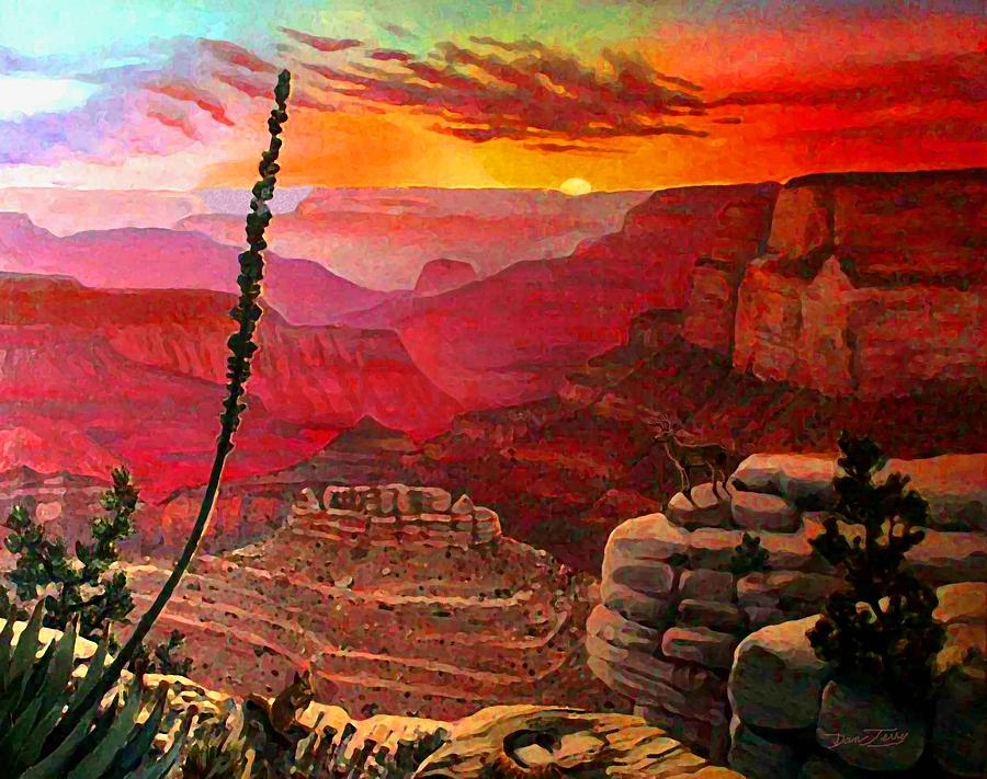 Grand Canyon Sunset Painting By Dan Terry
