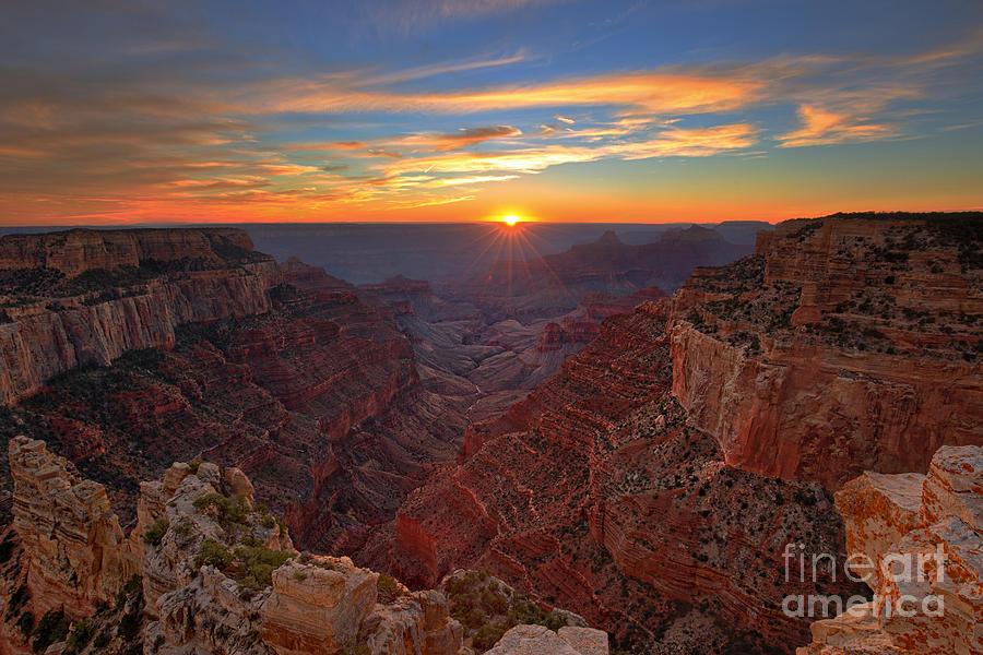 North Rim Photograph - Grand Canyon Sunset by Shishir Sathe