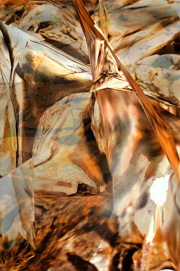 Abstract Digital Art Grand Canyon Stylized Non Representational Image Non Objective Dynamic  Copper Orange Sienna Warm Colors Beautiful Judy Paleologos  Photograph - Grand Canyon Up Close And Personal by Judy Paleologos
