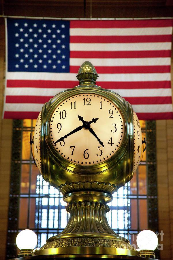 Brass Photograph - Grand Central Clock by Brian Jannsen