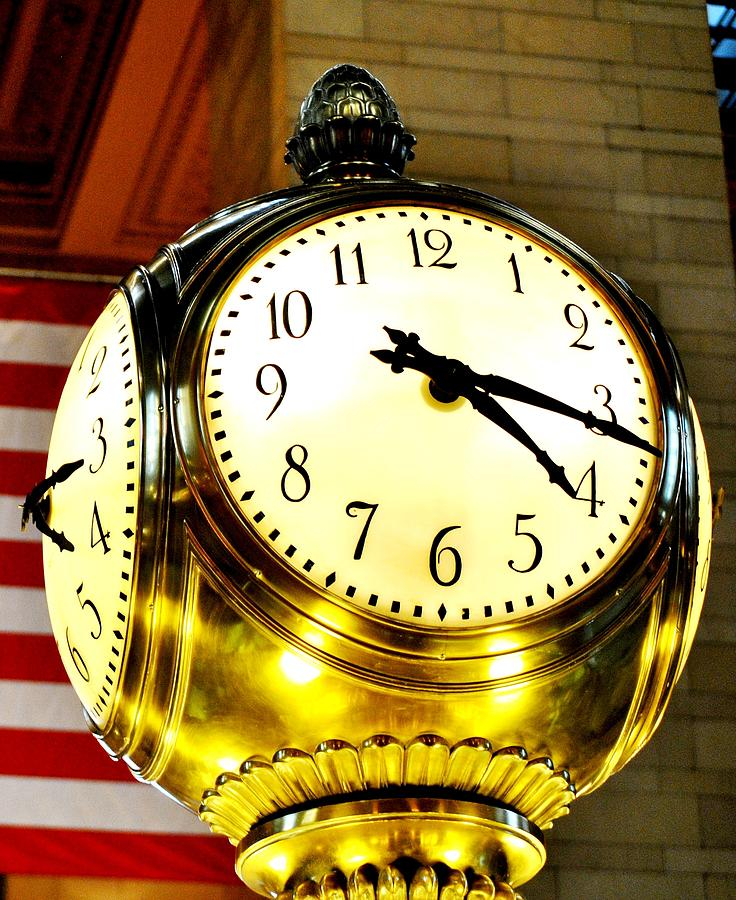Grand Central Clock Photograph - Grand Central Clock NYC by Ron Bartels