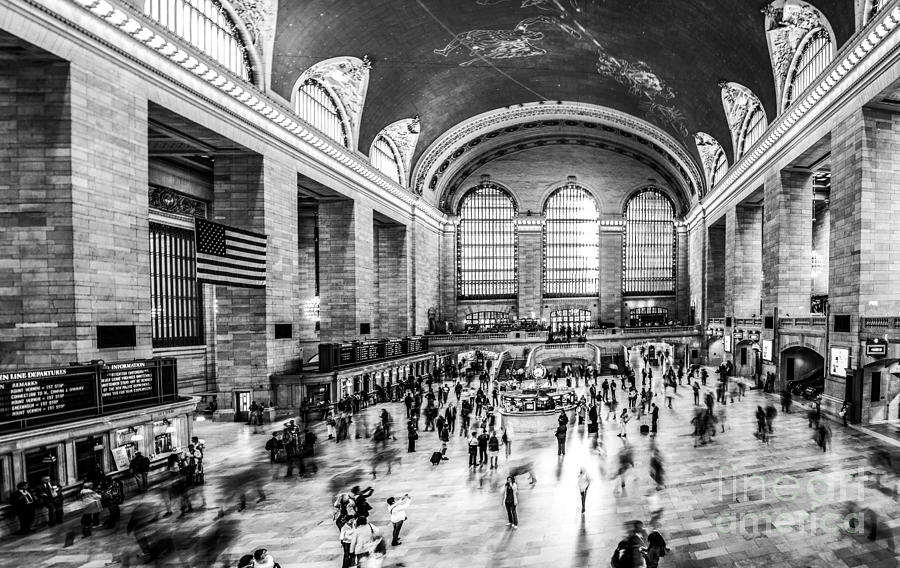 Nyc Photograph - Grand Central Station -pano Bw by Hannes Cmarits
