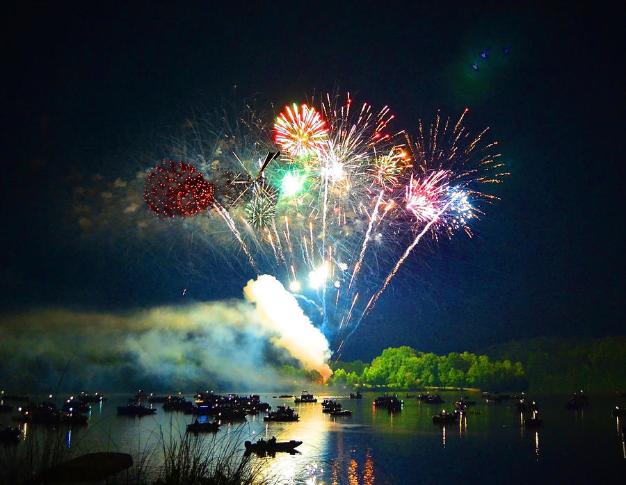 Fireworks Photograph - Grand Finale Over The Lake by Sandi OReilly