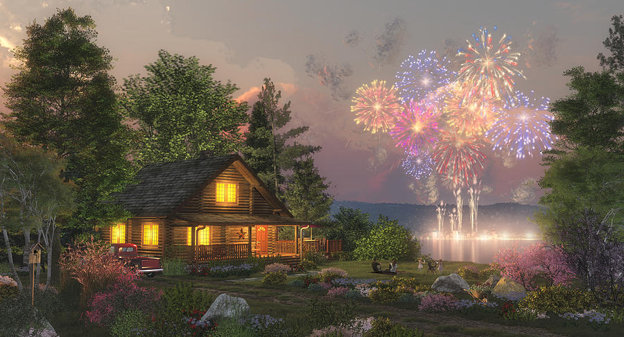 Fireworks Painting - Grand Finale by Randy Earles