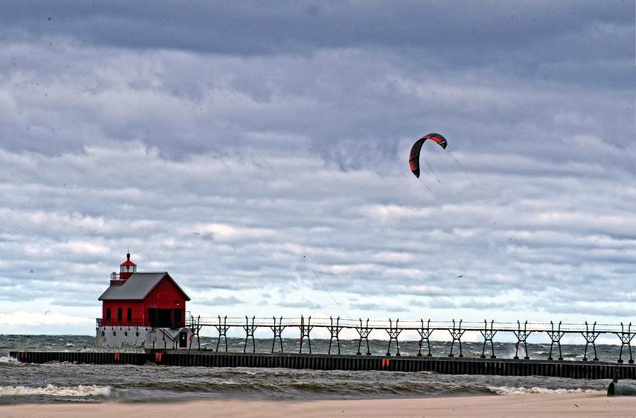 Grand Haven Lighthouse Photograph - Grand Haven Lighthouse 2 by Cheryl Cencich