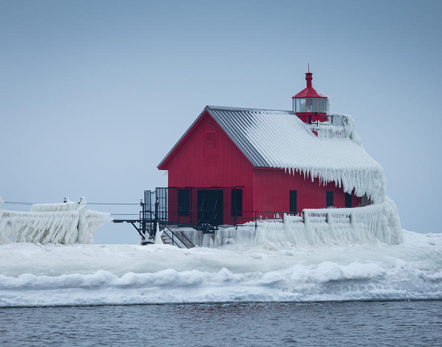Grand Haven Lighthouse Encased In Ice Photograph by Kimberly Kotzian