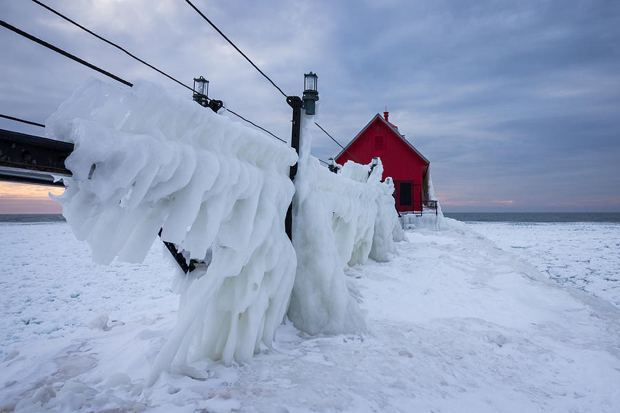 Grand Haven Lighthouse In Winter Photograph by Kimberly Kotzian