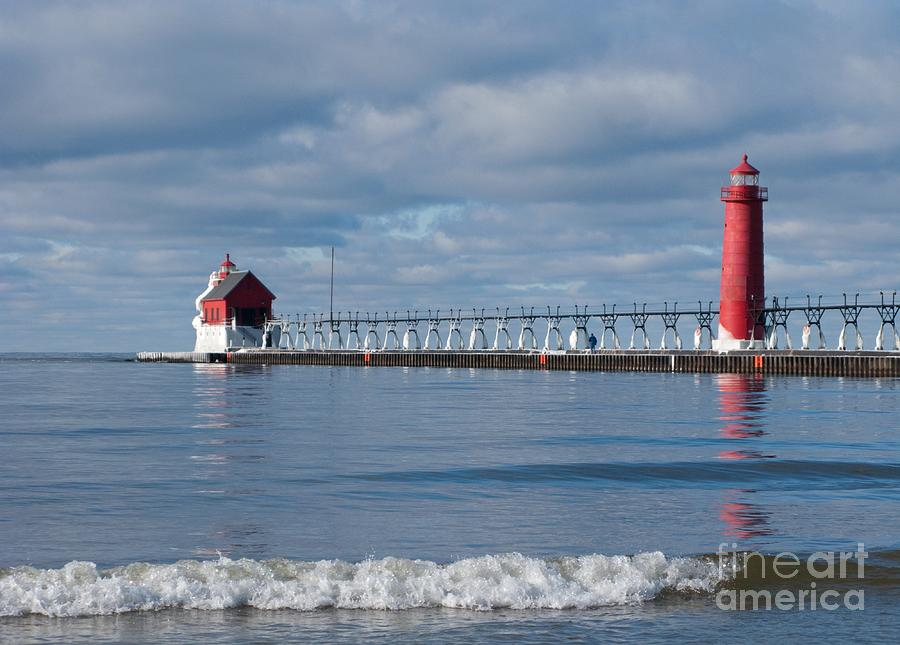 Lighthouse Photograph - Grand Haven Winter by Ann Horn