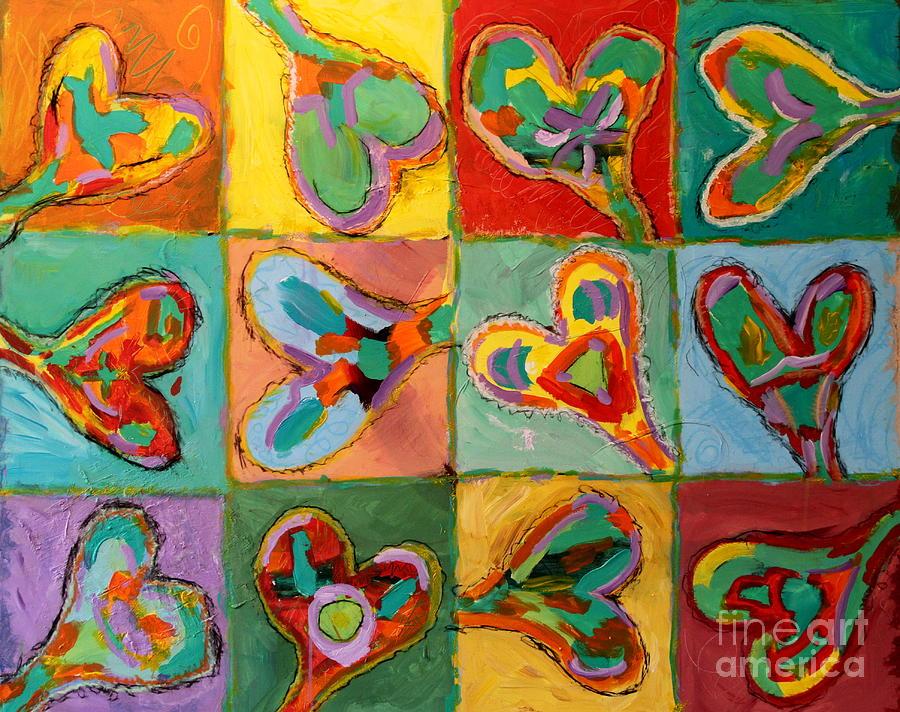 Bright Hearts Painting - Grand Hearts by Kelly Athena