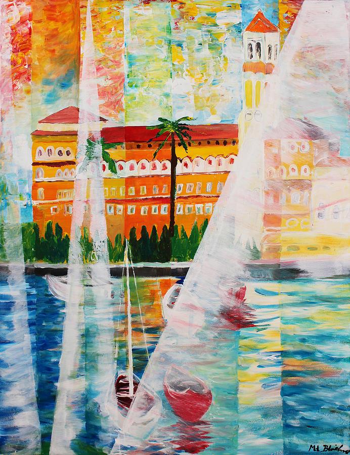 Gardasee Painting - Grand Hotel  In Gardone Riviera In Sunlight by M Bleichner