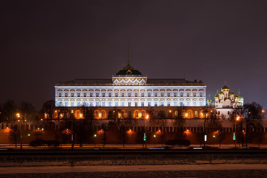 Architecture Photograph - Grand Kremlin Palace At Night by Alexander Senin