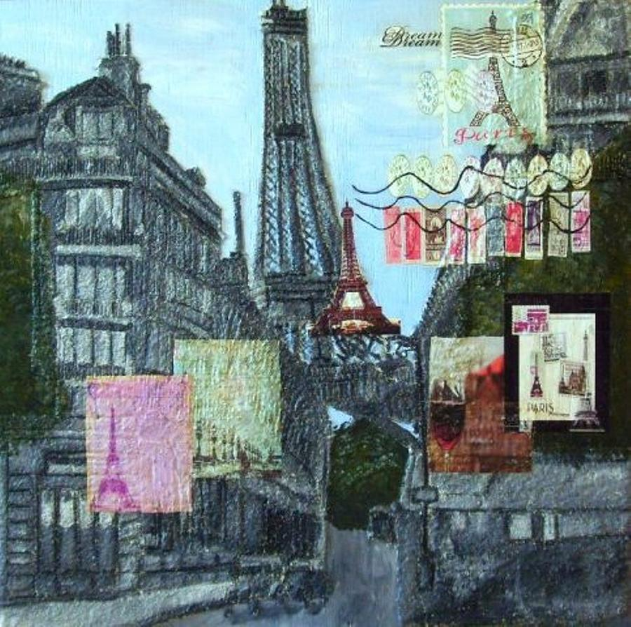 Mixed Media Painting - Grand Ole Paris-postcard From Paris by Leslye Miller