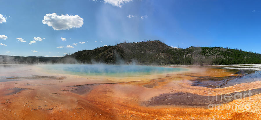 Hot Spring Photograph - Grand Prismatic Hot Spring Pool At Yellowstone National Park by Adam Long
