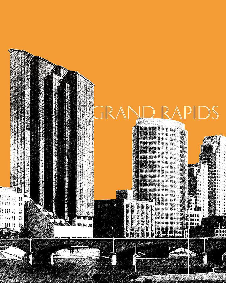 Architecture Digital Art - Grand Rapids Skyline - Orange by DB Artist