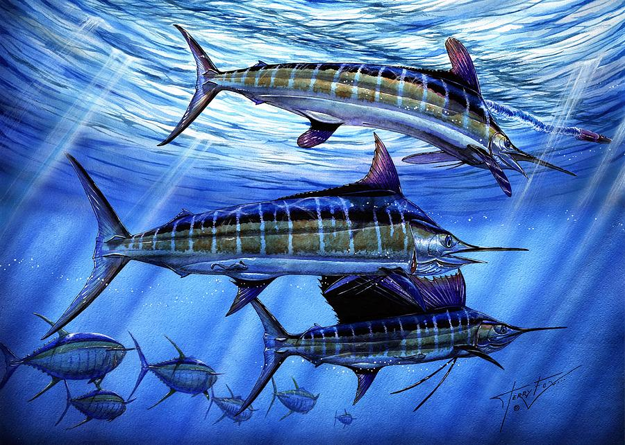 White Marlin Painting - Grand Slam Lure And Tuna by Terry Fox