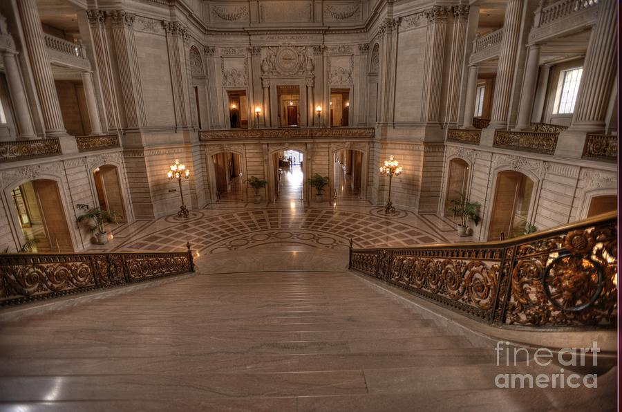 Grand Staircase S F City Hall Photograph By David Bearden