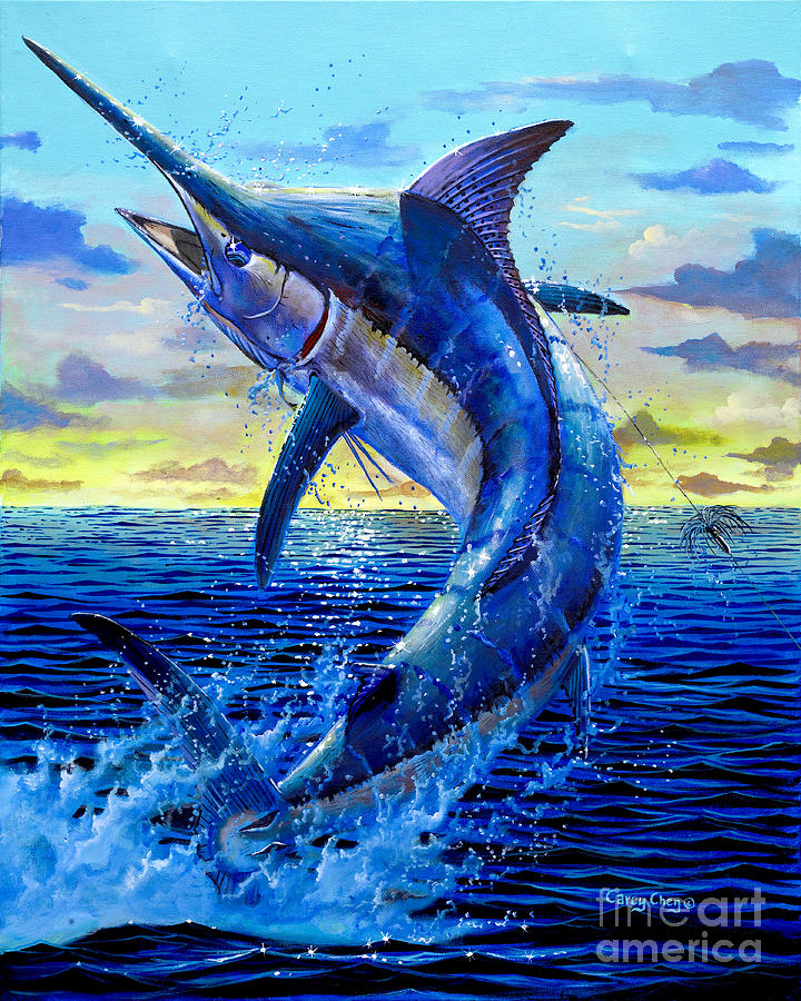 Marlin Painting - Grander Off007 by Carey Chen