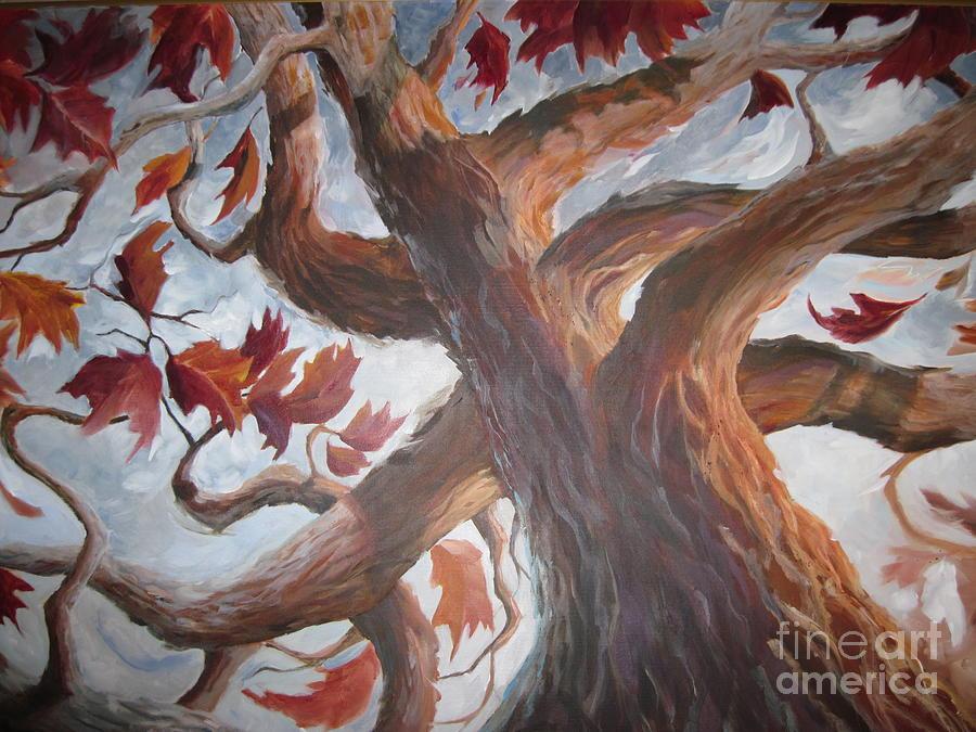 Abstract Tree Painting - Grandeur Of Tree by Paula Marsh