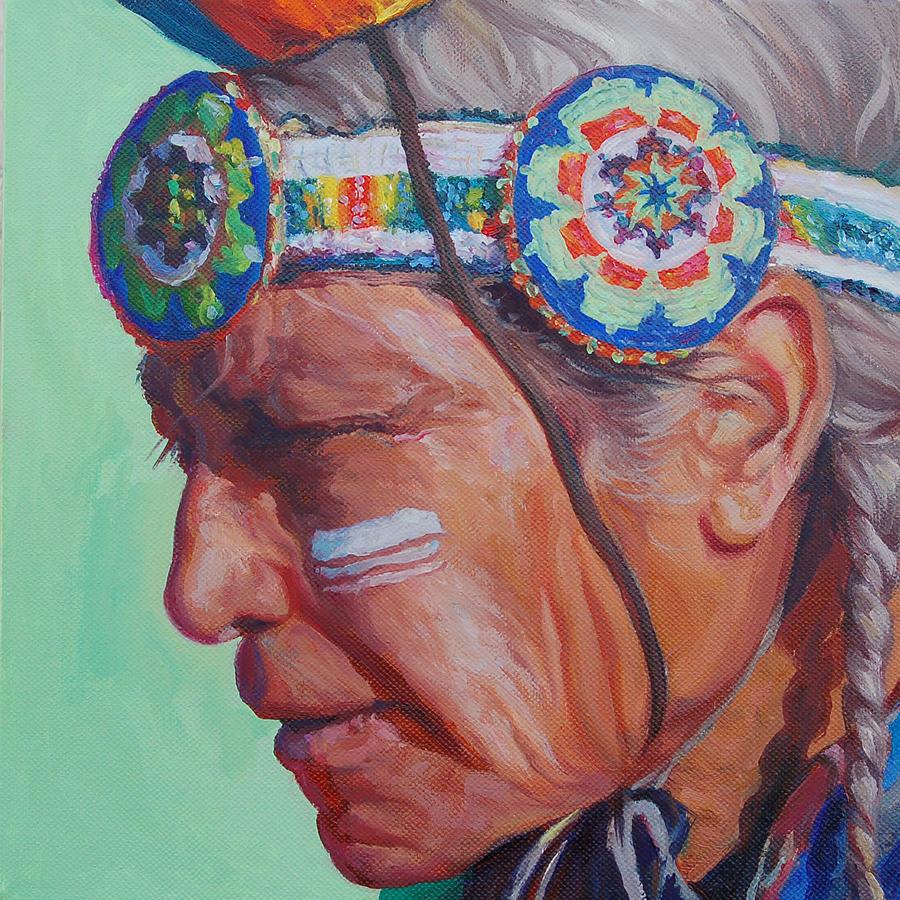 Native American Painting - Grandfather by Christine Lytwynczuk