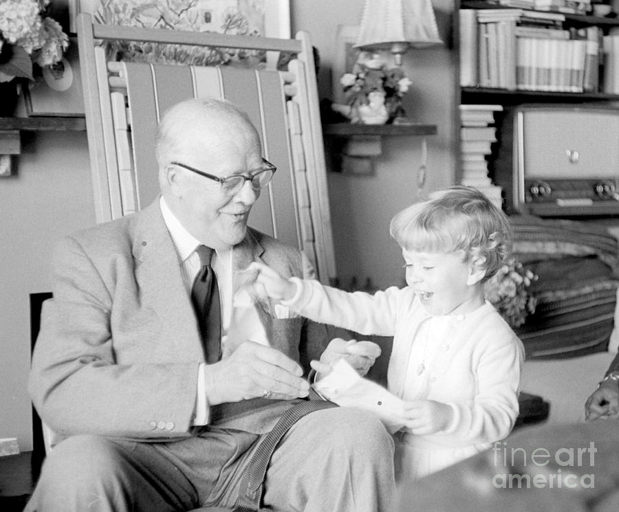 Grandfather Photograph - Grandfather Plays With Child by Julie Von Knorr Wedekind