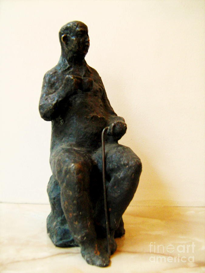 Statue Drawing - Grandfather With Cup by Nikola Litchkov