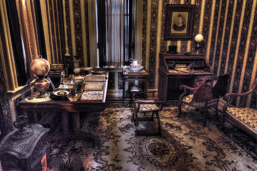 Office Digital Art - Grandfathers Office by William Fields
