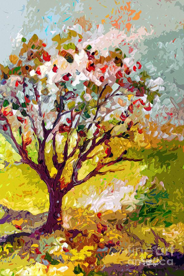 Trees Painting - Grandmas Apple Tree Modern Art by Ginette Callaway