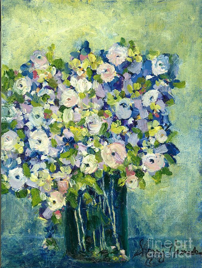 Orchards Painting - Grandmas Flowers by Sherry Harradence
